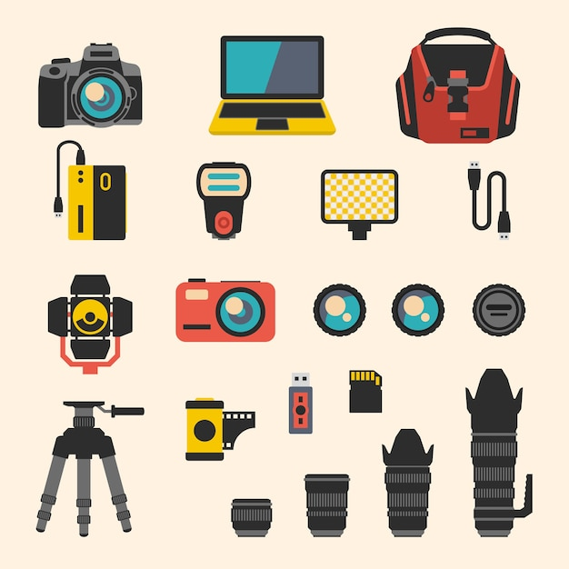 Photographer kit with camera elements. photography and digital equipment, lens and film. flat icons set Free Vector