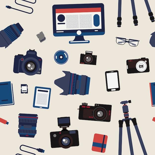Photographer set seamless pattern - cameras, lenses and photo equipment Premium Vector
