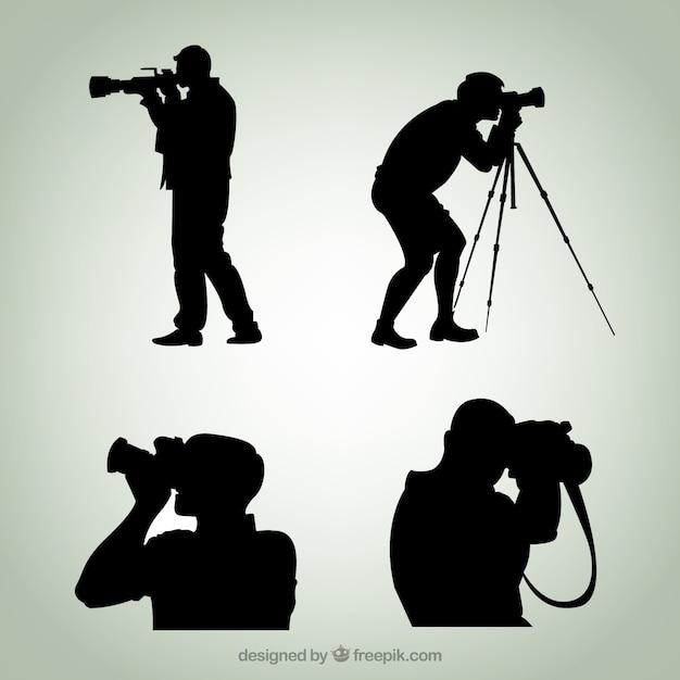 photographer silhouettes premium vector