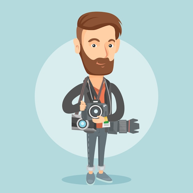 Photographer taking photo vector illustration. Premium Vector