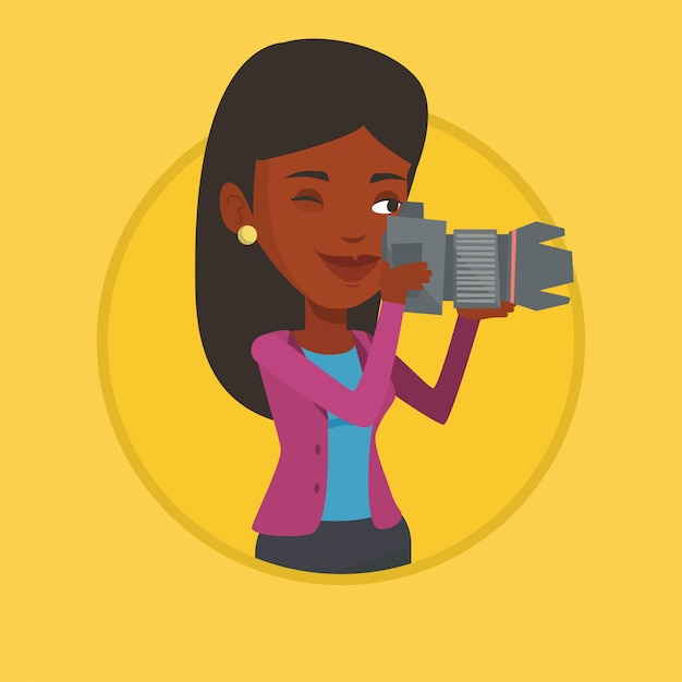 Photographer taking photo. Premium Vector