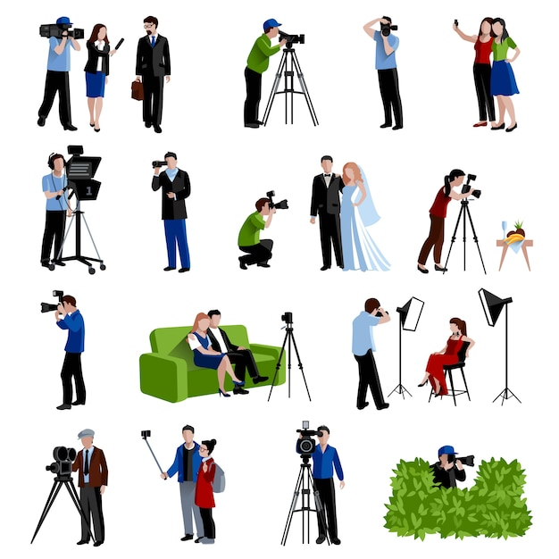 Photographer and videographer icons set Free Vector