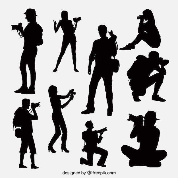 Photographers Taking A Photo Silhouettes Premium Vector