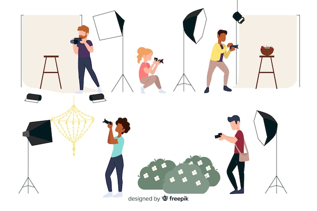 Photographers working flat design characters Free Vector