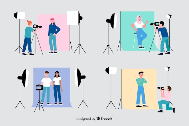 Photographers working in their studio collection Free Vector