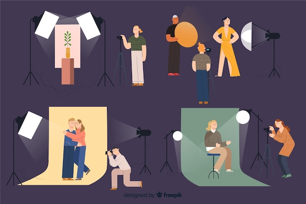 Photographers working in their studio pack Free Vector
