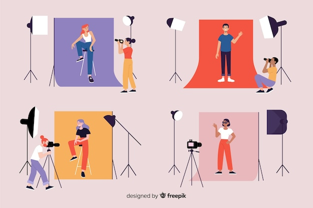 Photographers working in their studio with models collection Free Vector