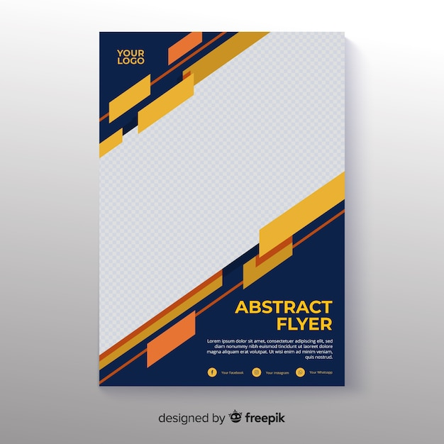 Photographic abstract flyer template Free Vector