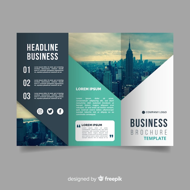 photographic abstract trifold brochure free vector