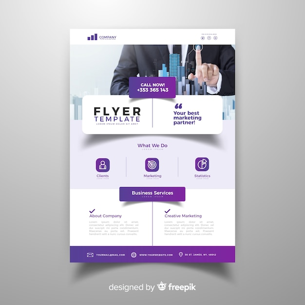 Photographic business flyer Free Vector