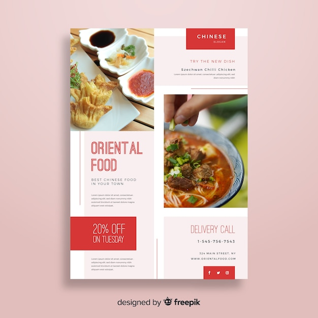 photographic chinese restaurant flyer vector