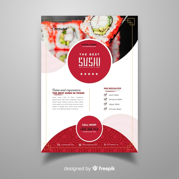 Photographic chinese restaurant flyer Free Vector