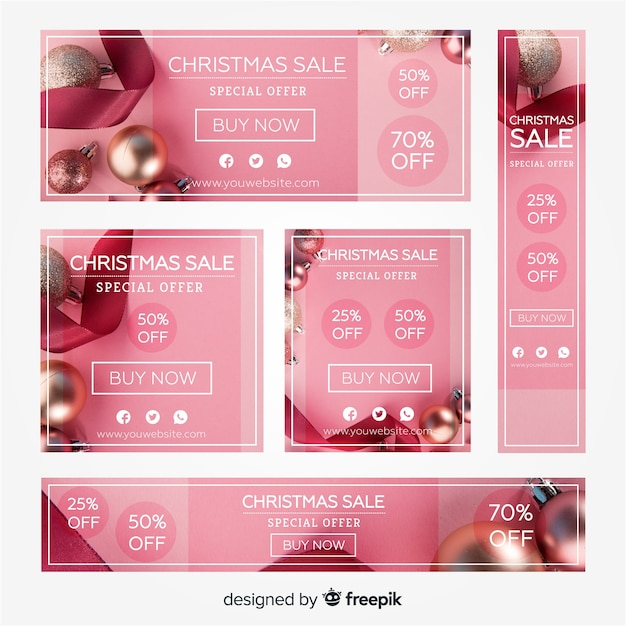 Photographic christmas sale banner collection Free Vector
