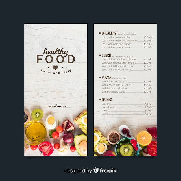 Photographic healthy menu template Free Vector