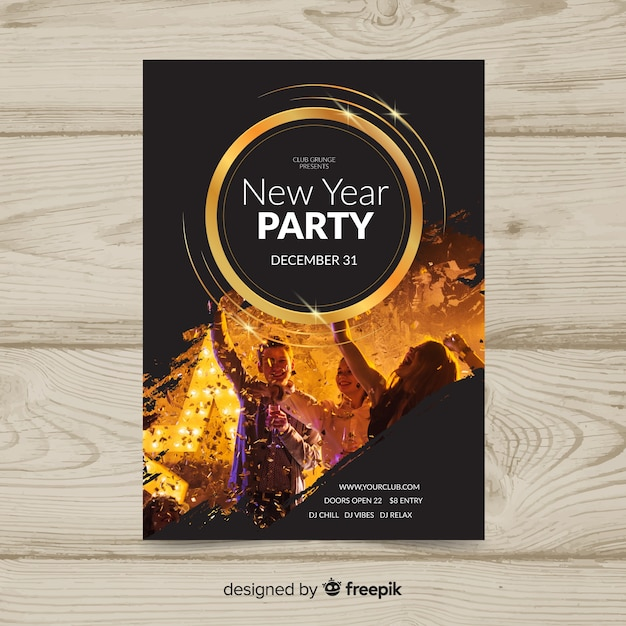 Photographic new year party poster Free Vector