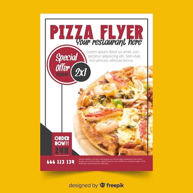 Photographic pizza flyer template Free Vector