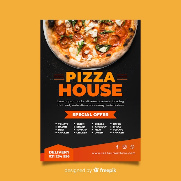 photographic pizza poster template vector