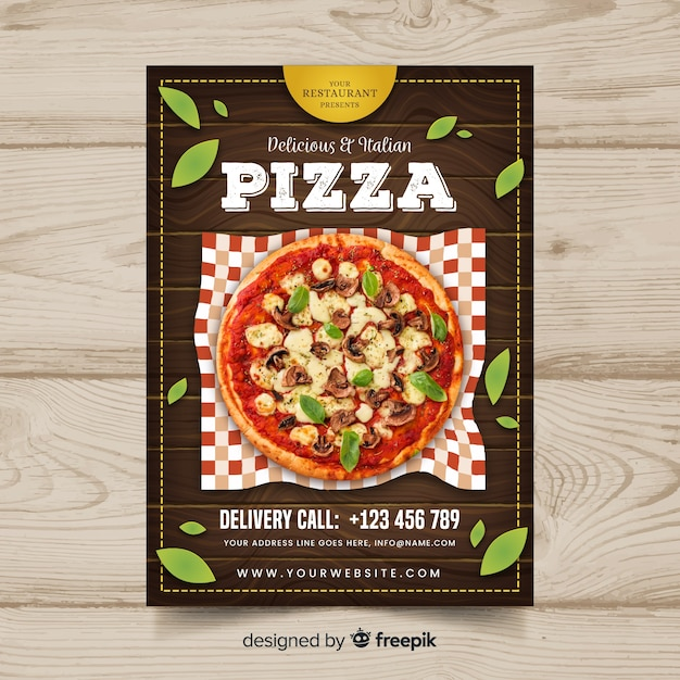 Photographic pizza restaurant flyer Free Vector