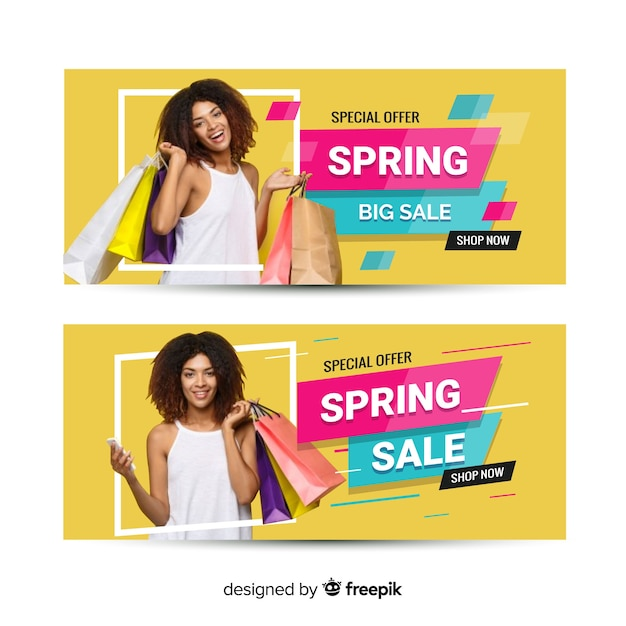 Photographic spring sale banner Free Vector