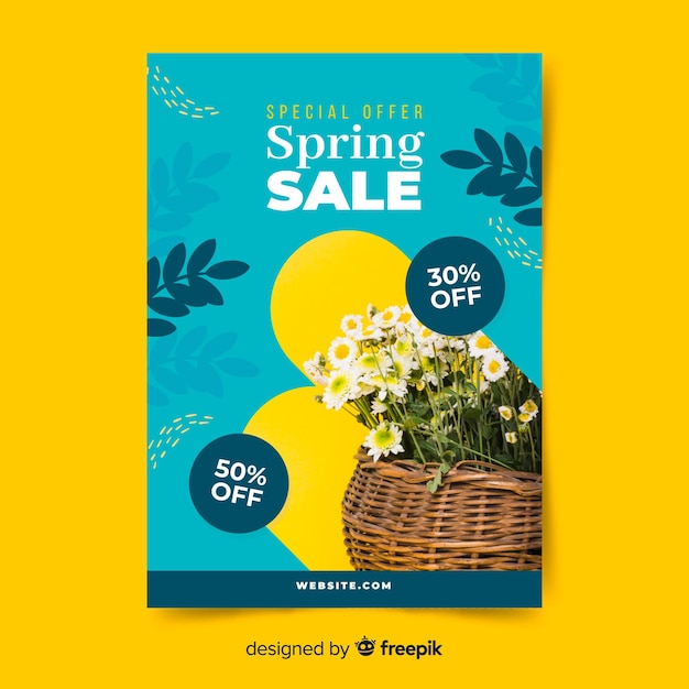 Photographic spring sale poster Free Vector