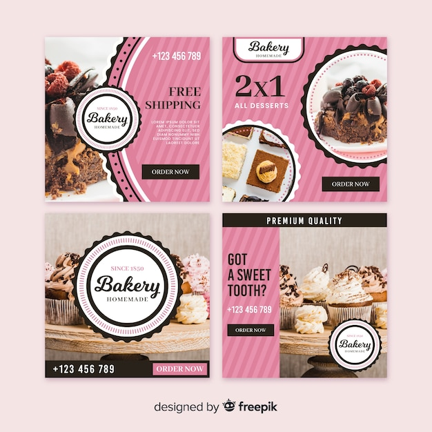 Photographic square bakery banner Free Vector