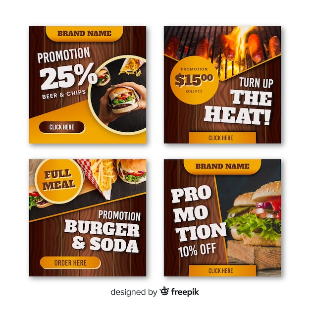 Photographic square burguer banner Free Vector