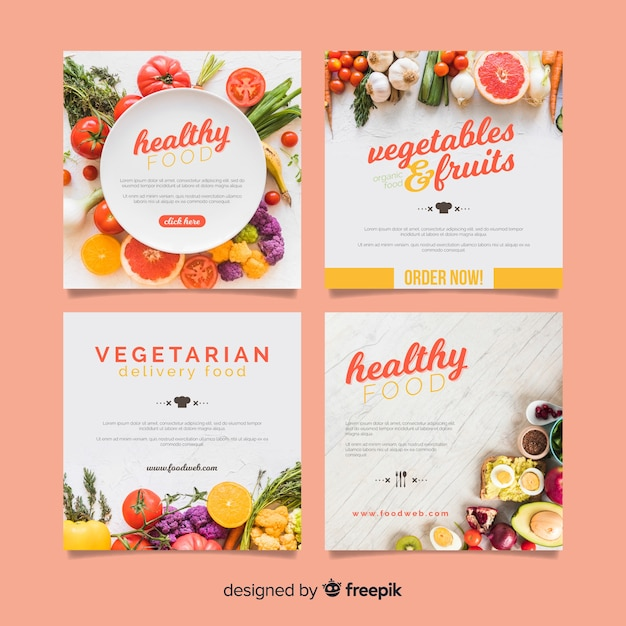 Photographic square healthy food banner Free Vector