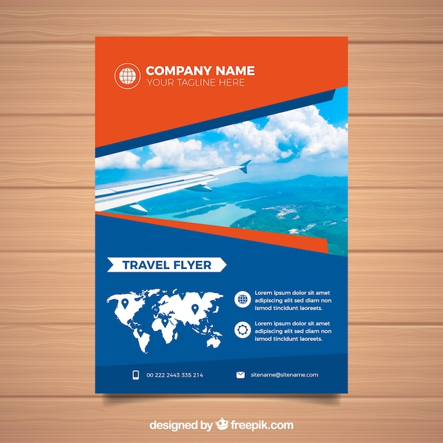 photographic travel brochure template free vector