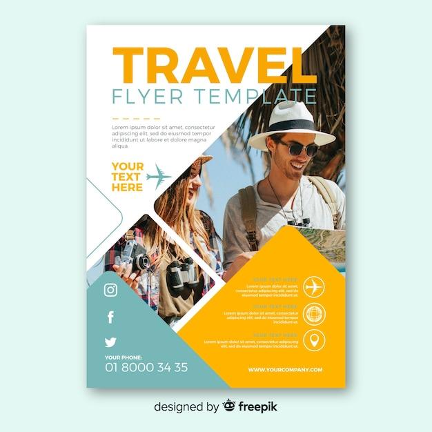 photographic travel flyer vector