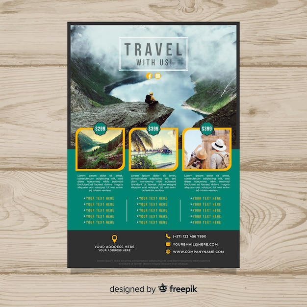 Photographic travel poster template Free Vector