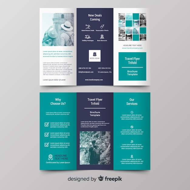 Photographic travel trifold brochure Free Vector