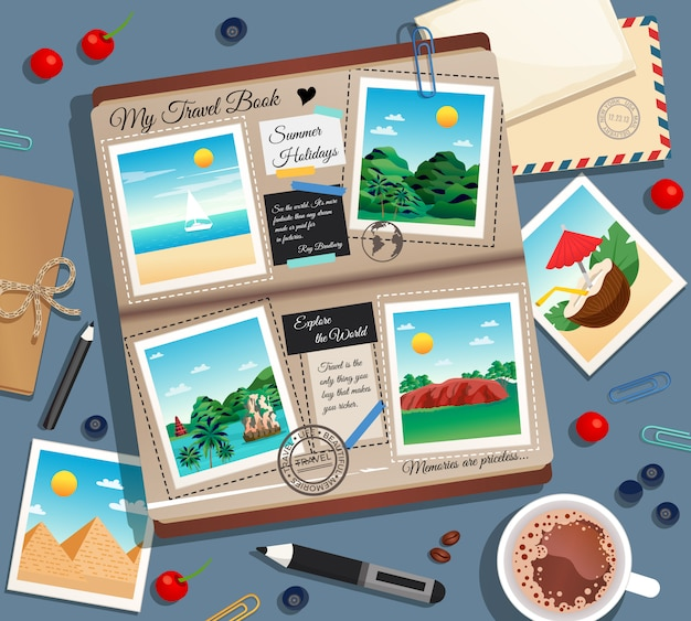 Photographs photo album postal envelope and cup of coffee cartoon illustration Free Vector
