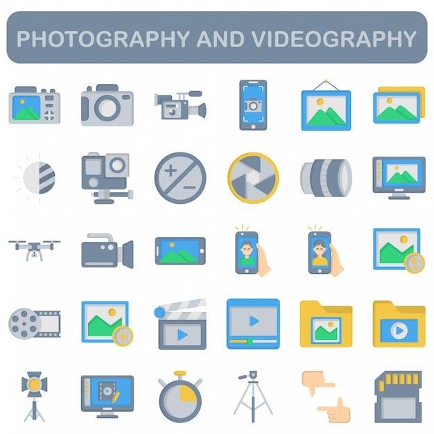 写真とビデオ撮影のアイコンセット、フラットスタイル Premiumベクター