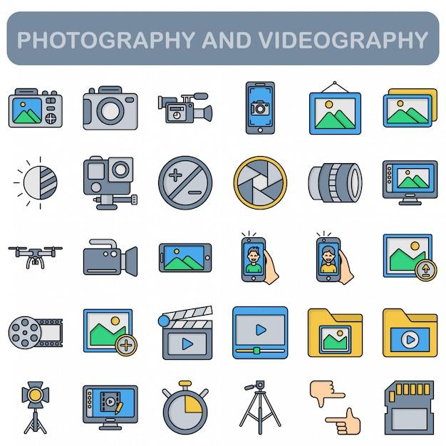 写真とビデオ撮影のアイコンセット、直線的な色のスタイル Premiumベクター