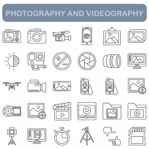 写真とビデオ撮影のアイコンセット、アウトラインスタイル Premiumベクター