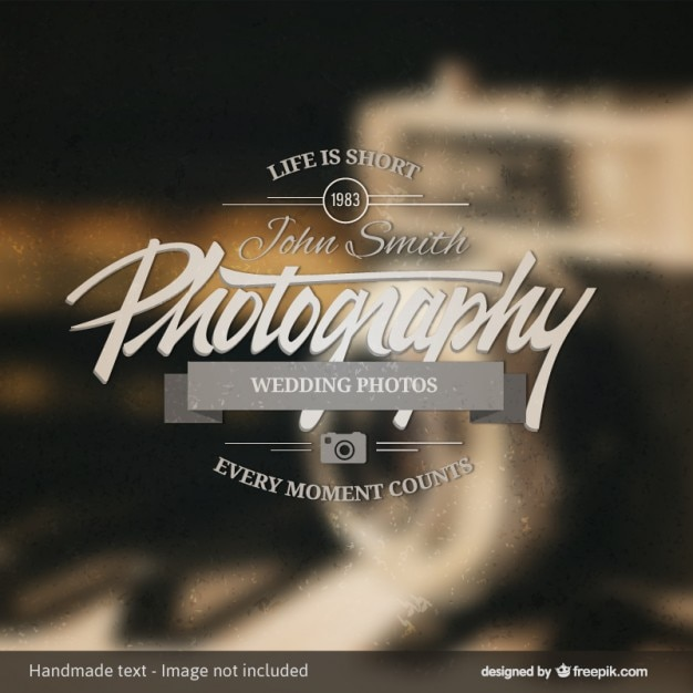 Photography badge over vintage background Free Vector