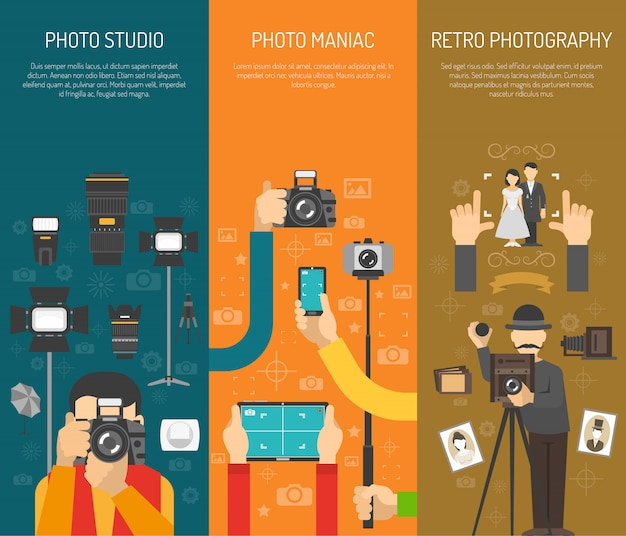 Photography banner set Free Vector