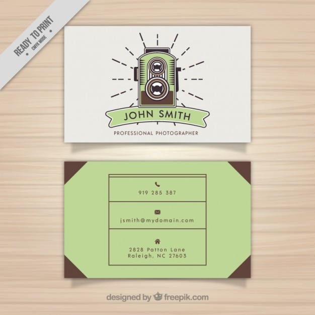 Photography business card vintage style vector free download photography business card vintage style free vector reheart Choice Image