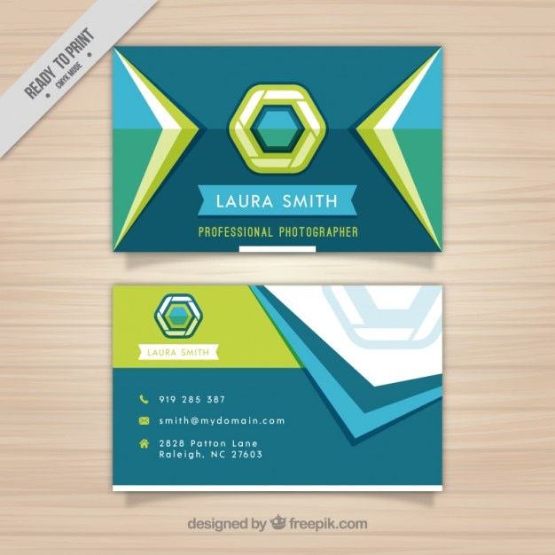 Photography business card with geometric shapes vector for Business cards shapes