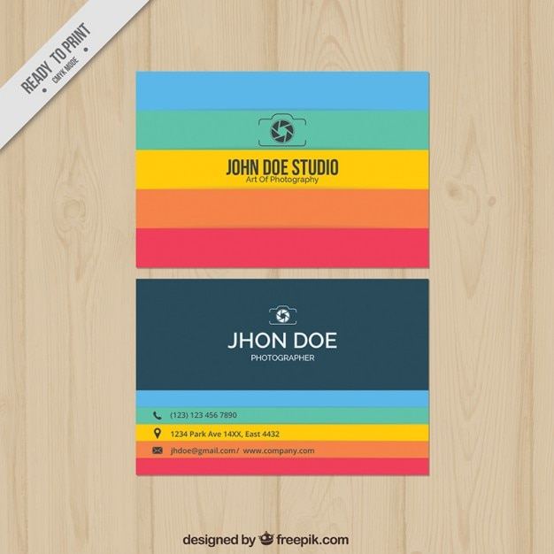 Photography business card with many colors vector free for Business card colors