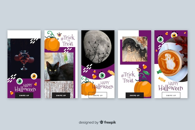 Photography and cartoon halloween instagram stories collection Free Vector