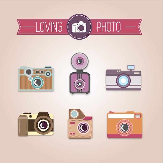 Photography collection of vintage cameras Premium Vector