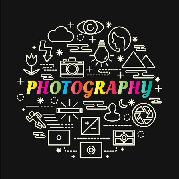 Photography colorful gradient with line icons set Premium Vector