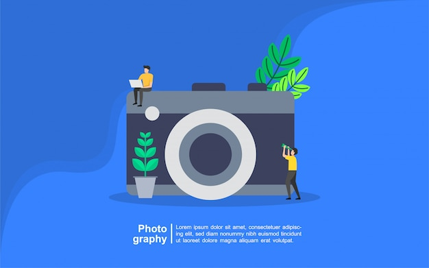Photography concept with people character Premium Vector