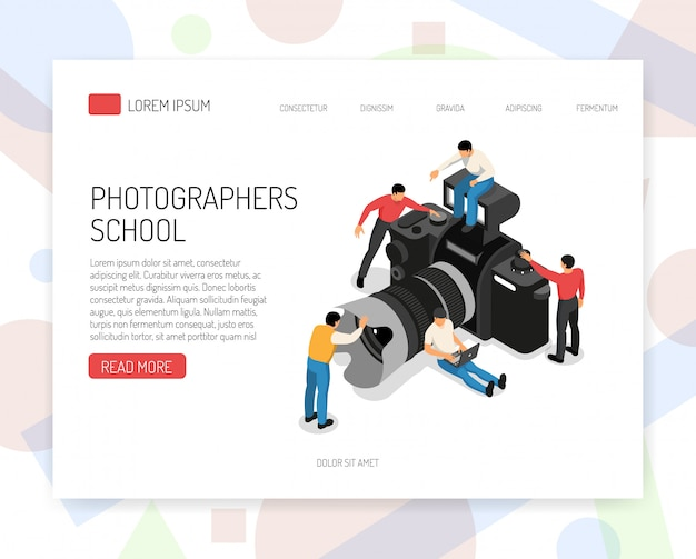 Photography education online school  isometric website page design with classes offer students and camera vector illustration Free Vector