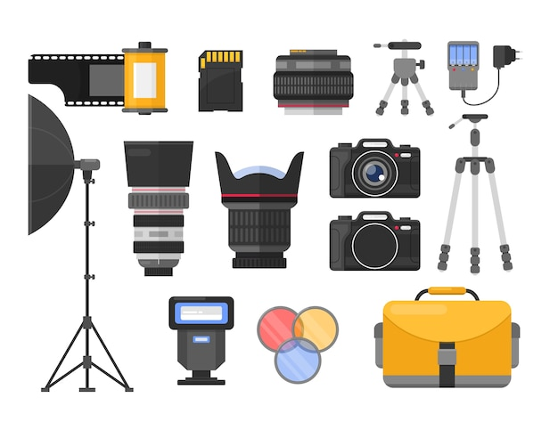 Photography equipment flat illustrations set. different camera lenses. professional photo studio accessories. softbox and tripods. photographer, cameraman tools. roll and sd memory card. Premium Vector