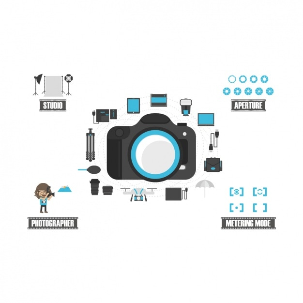 Photography equipment set Free Vector