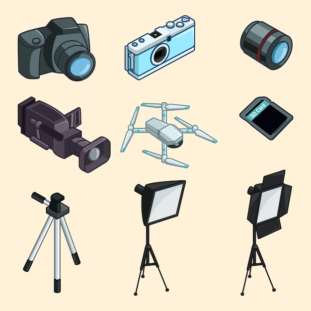 Photography equiptment collection Premium Vector