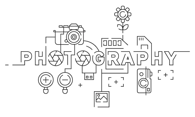 Photography flat line design Premium Vector