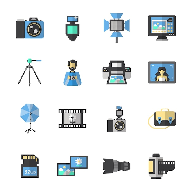 Photography icons flat Free Vector